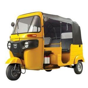 Yellow Four-Stroke BAJAJ Compact Auto Rickshaw